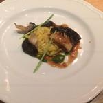 メログラーノ - 鰻のやわらかローストと平茸お添えたサフランのリゾット