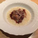 メログラーノ - 蝦夷鹿とグアンチャーレ、ウブリアーコチーズの温かいタルタル ポレンタ