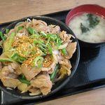 伝説のすた丼屋 - ガリバタ牛カルビ丼(2017/01/05撮影)
