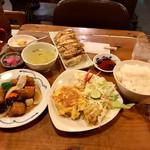 天天菜館 - スブタ定食、焼餃子(6ケ)