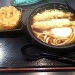 ゆで太郎 - 鍋焼きうどん&かき揚げ(2016.12)