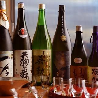 和歌山をはじめとした地酒約40種のほか希少酒もオンリスト