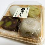 米満老舗 - 栗もち 栗きんとん 栗蒸し羊羹 渋皮栗入り上用。4個で530円