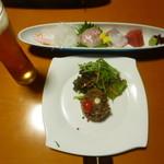 夢海遊・淡路島 - 料理写真:牛肉のセルクル仕立て玉葱ドレッシング、お造り4種盛