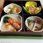 61032863 - 煮物・かすべの唐揚げ・さわらの西京焼き・お造り