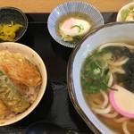 宮屋 - ランチ ミニ天丼とワカメうどん