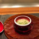 61054135 - 帆立貝の茶碗蒸し 七草のお吸い物と一緒に