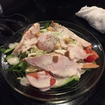 61057253 - サラダにもハムらしき肉がダイナミックに乗せられています。