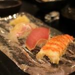 江戸前鮨と鶏 和暖 - 江戸前鮨 鯛の昆布〆、鮪漬け、車海老