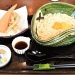 佐和 - 釜玉うどん大盛+天ぷらセット(ちく天 赤天)