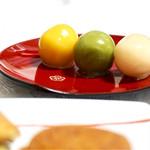 舟和 - あんこ玉 いんげん豆、抹茶、みかん