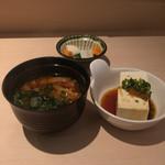 61099459 - 小鉢、味噌汁、漬物
