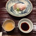 米増 - 明石鯛〜♪       炙りと刺身、わさびと酢で