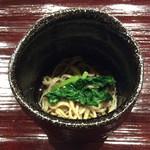 米増 - 途中のお蕎麦、葉ワサビ、ひんやりして美味しい