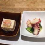 hiro - 前菜のホワイトアスパラの豆腐とたこときゅうりの酢の物