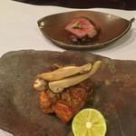 お料理 七草 - 秋鮭 南蛮味噌焼きと倉石牛 バラ焼き