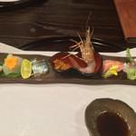 お料理 七草 - ホタテ、ヒラメ、秋刀魚、ボタン海老、トロ、熟成鯛の湯引き