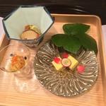 お料理 七草 - 松茸菊花和え、もろこし湯葉、アピオスのウニ和え