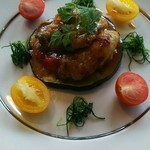 あじ蔵 カロカロ - グリル米ナス牡蠣ソテーのせ トマトソース
