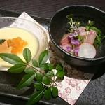 九兵衛 - カンパチの胡麻和え、特選卵と地鶏の玉子豆腐