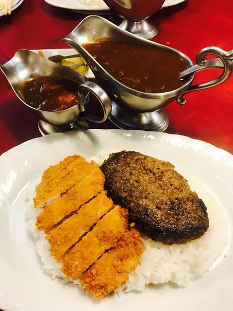 レストラン ナカタ - ダブルトッピングカレー チキン5倍 ハンバーグ&ポークカツ(大盛)