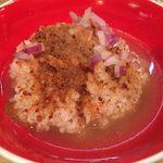 Japanese Soba Noodles 蔦 - 塩Sobaのスープを入れた「からすみ茶漬け」