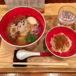 Japanese Soba Noodles 蔦 - 「塩Soba」1000円+「味玉(青森シャモロック)」200円+「からすみ茶漬け」350円
