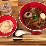 Japanese Soba Noodles 蔦 - 「味玉醤油Soba」1200円と「鶏油ご飯」250円