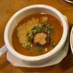 麺極 はなみち - 辛濃味噌つけ麺(つけ汁・アップ)