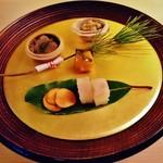 61180353 - 『たたきごぼうの白胡麻和え』『茶ぶりのなまこ』『金柑の蜜煮』『ヒラメのお寿司』『くわいのせんべい』~♪( ^o^)ノ