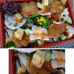 佐近 - ◆「はもちらし(1296円:税込)」・・甘辛いたれに絡めて焼いた「鱧」数切れと、酢蓮根、海老、玉子焼きなどが盛られています。