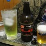 お好み焼・たこ焼 多幸膳 - 海軍さんの麦酒700円、ライム酎ハイ440円