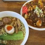 天狗 北越らーめん - 料理写真:天狗ラーメン+麻婆丼(辛め)
