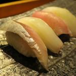 鮨割烹 廉 - 真鯖(酢〆)/赤いか/いなだ/平目