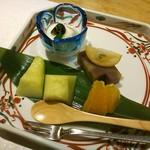 61220916 - 水菓子、栗蒸し羊羹、林檎ヨーグルト掛けなど