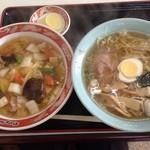 珍味 - 中華丼ラーメンセット950円