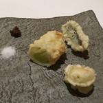 リストランテ イル バンビナッチョ - フリット3種 太ネギ アナゴ 百合根