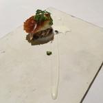 リストランテ イル バンビナッチョ - 鳥のササミ たけのこ芋 スカモルツァのミルフィーユ仕立て ヨーグルトソース
