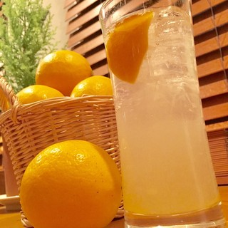 無農薬の生レモンサワーに自家製ドリンク