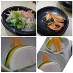 清香園 - ◆左上:サラダ ◆右上:カルビ。塩が強め。 ◆下:焼き野菜。