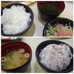 清香園 - ◆主人は「白ご飯」と「ワカメスープ」 ◆私は「十穀米」と「お味噌汁」を。