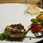 61238563 - ラフランスのグラニテ、柿のシブースト、ティラミス