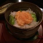 霞町 しろう - 蒸物:空豆と海鼠子(このこ=くちこ)の飯蒸し