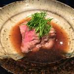 日本料理 晴山 - (2013年12月)壬生菜を柔らかい宮崎牛で包んだお皿