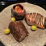 日本料理 晴山 - (2013年12月)ヒラメの肝、マナガツオの西京漬け、堀川ごぼう