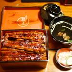 川魚 根本 - うな重 特上(肝吸付)¥3500