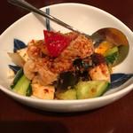 中国酒家 辰春 - 鶏肉とピータン、野菜の辛口山椒ソース和え