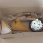 messo - 芋パイ、胡麻と柚子のチーズケーキ、紅まどんなのミルクティータルト、レモンのメレンゲタルト