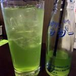 立ち呑み とーど - 「青リンゴサワー」350円也。