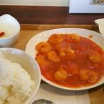 穂の華 - エビチリ定食 1100円